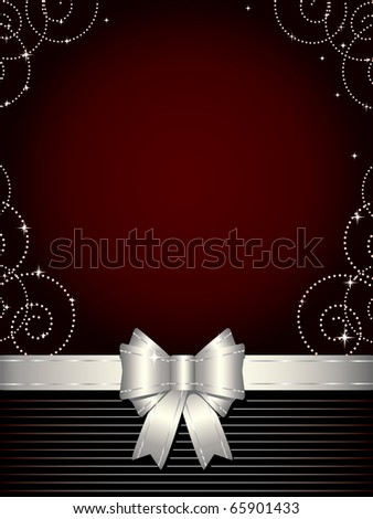 Christmas background with silver bow (also available vector version of this image)