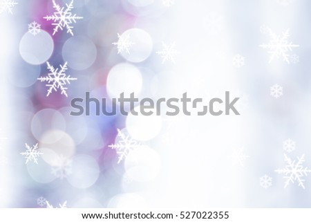 Christmas background with snowflakes and Christmas lights #527022355