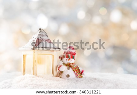 Stock Photo Christmas background with snowman