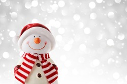 Christmas background with snowman, winter decoration