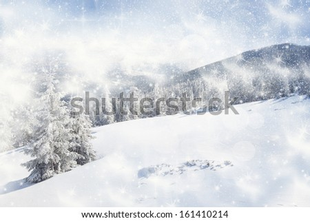 Christmas background with snowy fir trees #161410214