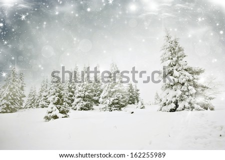 Christmas background with snowy fir trees  #162255989