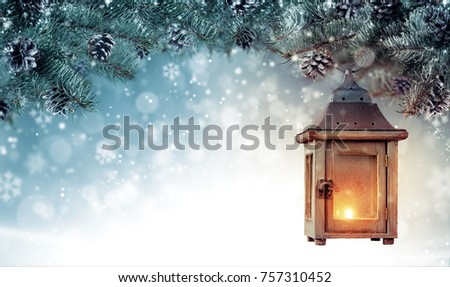 Christmas background with spruce branches and wooden lantern. Abstract holiday concept with empty vintage planks. High resolution image - Shutterstock ID 757310452