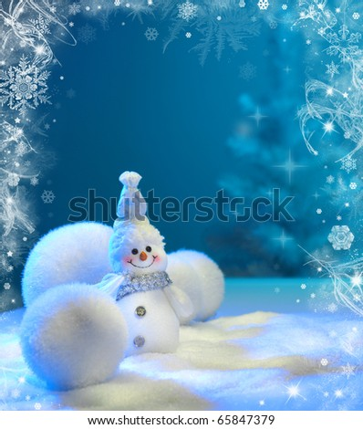 Christmas background with stars and snowflakes and snowman