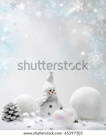 Christmas background with stars and snowflakes snow balls snowman - stock photo