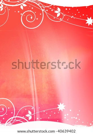 Christmas Background with swirls and stars