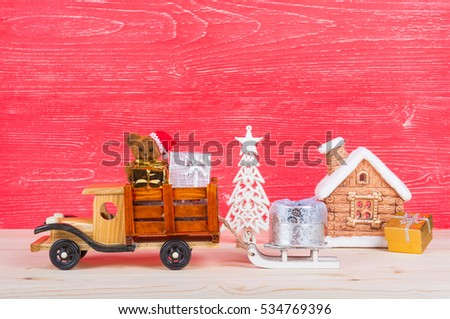 Christmas Background With Toys Wooden Truck Carries A Teddy Bear Decorations And Gifts