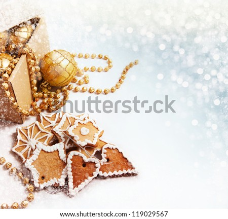 Christmas background with traditional decoration in gold tones