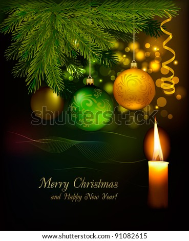Christmas background with tree and baubles. Raster version of vector.
