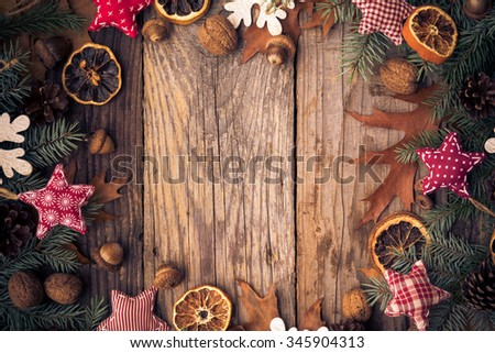 Christmas background with twigs, decorations and gifts of nature #345904313