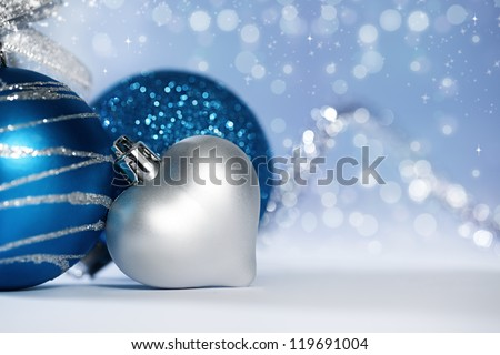 Stock Photo christmas background with various ornaments and light bokehs and sparkles