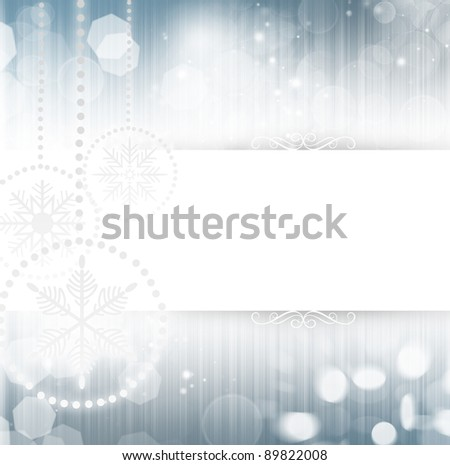 Christmas background with white snowflakes and place for your text - stock photo