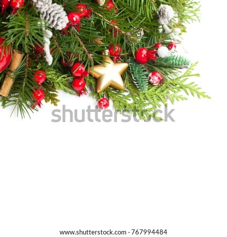 Christmas Background with Xmas Decoration, Xmas Tree Twig, Golden Glitter Star on White. New Year Background with Copy Space #767994484