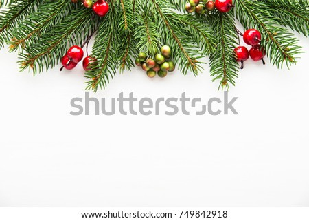 Christmas background with xmas tree and red berries on white wooden background. Merry christmas greeting card, frame, banner. Winter holiday theme. Happy New Year. Space for text. #749842918