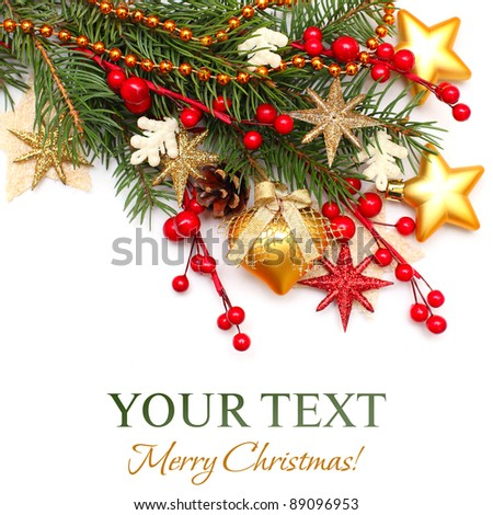 Christmas background - Xmas tree, gold decoration, red berry isolated on white