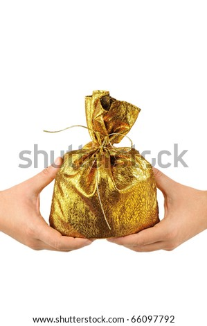 Christmas bag in male hands isolated on white background