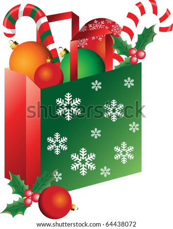 Christmas bag with balls, candy, mistletoe