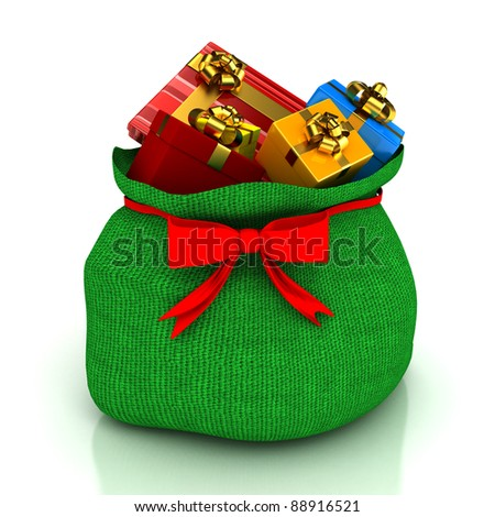 Christmas bag with gifts over white