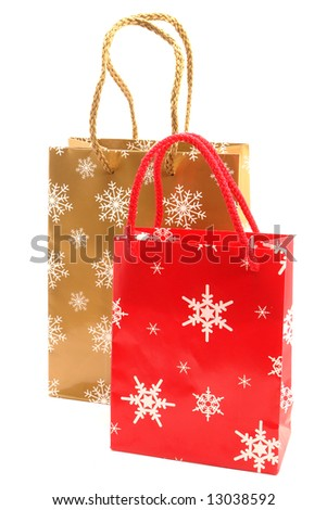 Christmas   bags  for purchases on a white background.