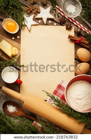 Christmas Baking Cake Background Old Sheet Of Paper