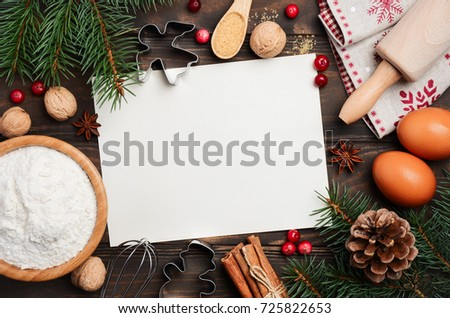 Christmas baking ingredients, top view, copy space. #725822653