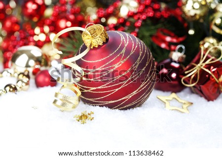 Christmas ball and Christmas tree with decorations