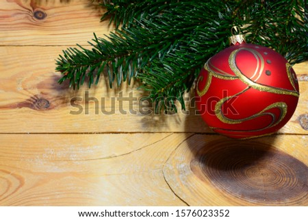 Christmas ball and decoration with green fir tree on wooden background. Xmas time. Xmas background frame #1576023352