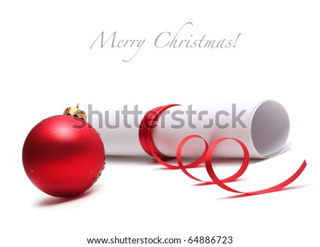 christmas ball and paper roll