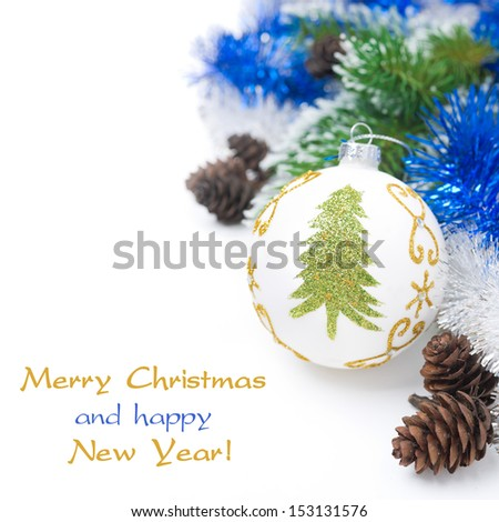 Christmas ball and tinsel isolated on white background
