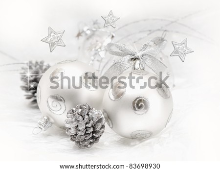Christmas ball baubles with silver decoration, isolated