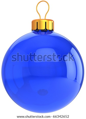 Christmas ball blue New Years Eve bauble blank Merry Xmas translucent empty decoration. Wintertime traditional greeting card copy-space design element. 3d render isolated on white background