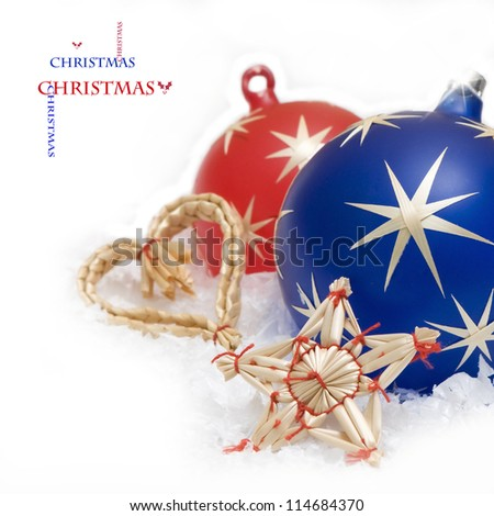Christmas ball bubbles  with straw star and heart on white background