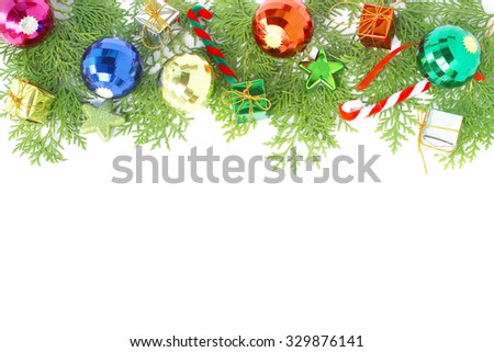 Christmas ball decoration and pine leaves on white background  #329876141