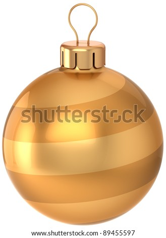 Christmas ball decoration Happy New Year years eve bauble luxury golden. Traditional winter wintertime holiday icon concept. Merry Xmas greeting card design. 3d render isolated on white background