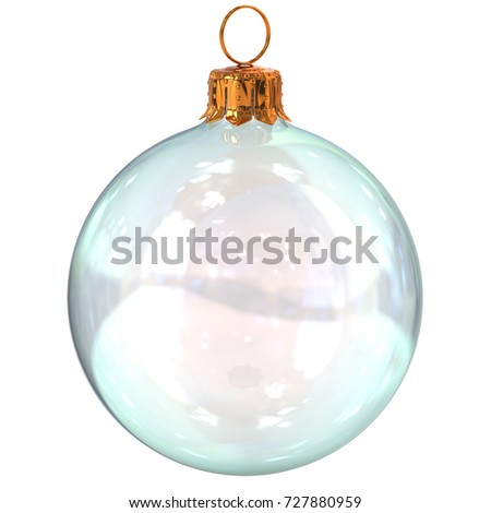 Christmas ball glass white clean translucent closeup New Year's Eve decoration bauble hanging adornment traditional Happy Merry Xmas wintertime ornament. 3d rendering illustration