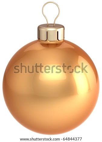 Christmas ball gold ornament New Years Eve golden bauble luxury. Wintertime Merry Xmas decoration classic blank. 3d render isolated on white background