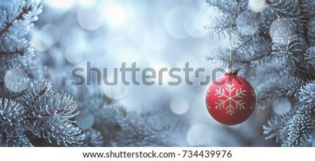 Stock Photo Christmas ball hanging on fir tree