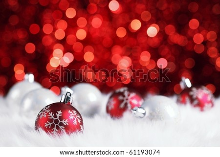 christmas ball on abstract light background,Shallow Dof. - stock photo