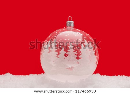Christmas ball ornament in snow