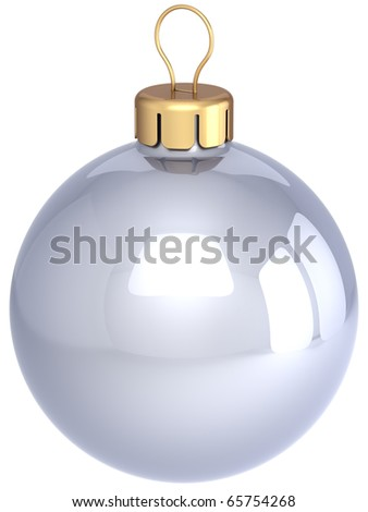 Christmas ball white silver chrome classic sphere. New Years Eve bauble shiny beautiful. Merry Xmas greeting card design element blank clean. 3d render isolated on white background