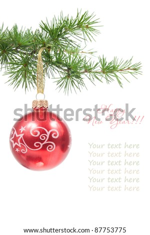 Christmas ball with a pine branch isolated on white background with copy space for your text