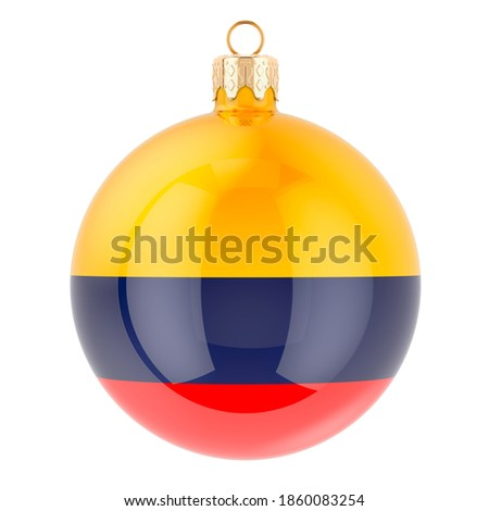 Christmas ball with Columbian flag, 3D rendering isolated on white background Stockfoto ©