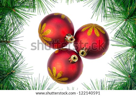 Christmas ball with pine branch