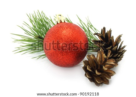 Christmas ball with pinecone and fir tree on a white background