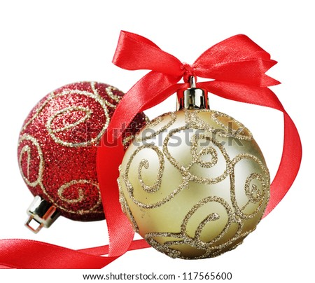 Christmas ball with red bow and ribbon isolated on a white background