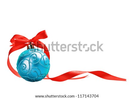 Christmas ball with red bow and ribbon isolated on a white background for text