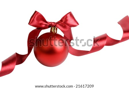 Christmas ball with ribbon isolated on white