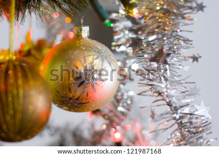 Christmas balls and branches with decoration