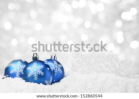 Christmas balls and snowflake on abstract background