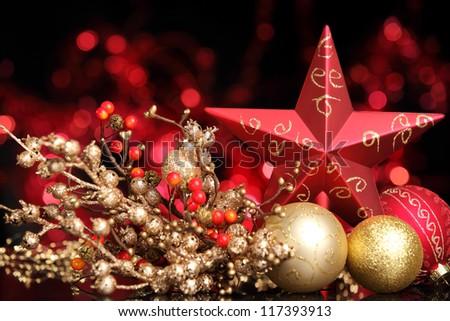 Christmas balls and star on abstract lights background,Shallow Dof.